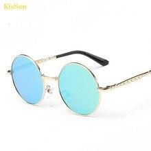 2016 New Kids Polarised Sunglasses Pink Gold Mirror Black G ray Round Retro Punk Boy Girls Children Sun Glasses KisSun Brand