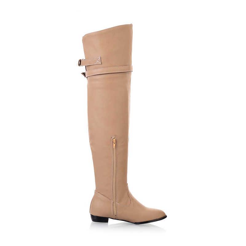 QPLYXCO 2017 Nieuwe Big size 34-45 vrouwen platte laarzen over knie winter warm lange ronde teen fashion botas schoeisel schoenen 181