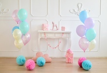Laeacco Baby Birthday Balloons Gray Chic Wall Flowers Gift Kid Portrait Photo Backdrops Photography Backgrounds Studio