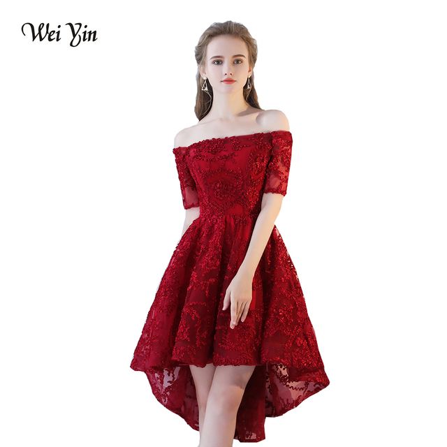WeiYin Sexy High Low Lace Formal Evening Dress 2019 Short Sleeves Short  Front Long Back Prom Dress Formal Gown Vestido De Festa c04f876a8ebe