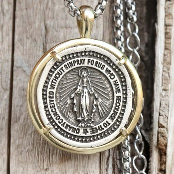 3591eebadfd7 Collar de la Virgen María de los hombres colgante de la Medalla Milagrosa  catolica regalo religioso Dropship