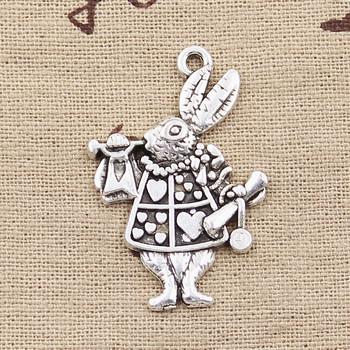 3 sztuk Charms muzyczne królik trąbka 36x23mm Antique Making wisiorek fit Vintage tybetański srebrny kolor ręcznie robiona biżuteria diy tanie i dobre opinie hroryn Ze stopu cynku Zwierzęta Moda like photo Metal TRENDY