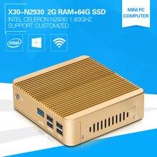 XCY безвентиляторный мини шт Celeron N2930 quad-core 1.83 ГГц 2 г Оперативная память 64 г SSD Программное обеспечение Windows7 Wi-Fi Компьютерная игра загрузки Бесплатная полный