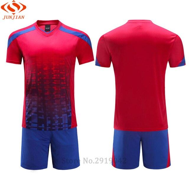 67de4e935 2017 New Boys Soccer Jerseys Set Kids Football Kits Child Futbol Training  Suit Breathable Maillot De Foot Jersey Uniforms Custom