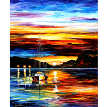Hand Painted Landscape Abstract Drowned Sunset Palette Knife Modern Oil Painting Canvas Wall Art Living Room Artwork Fine Art