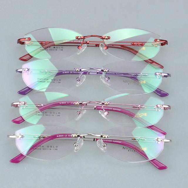 N8025 nova moda mulher Best seller preço de fábrica fantasma óculos sem aro frame ótico miopia óculos eyewear