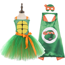 Green Teenage Girls Clothing Mutant Turtles Party Halloween Dress for Kid Knee Length Round Collar Ninja Pattern Tutu Dress 12Y 2015 comics teenage mutant ninja turtles wallet dollar price purse pu tide men women boys girls wallets for young students w020