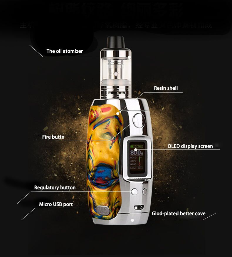 VBS  Rasin box mod mechanical mod vaporizer OLED display screen 80w 24hours temperature control e cigarette vape mods modefined prism 250w box mod