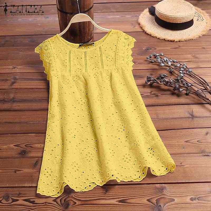 ZANZEA Fashion Vrouwen Lace Haak Vest Tee 2019 Zomer Hollow Out Tanks TopsSolid Casual Werk Blusas Witte Top Mouwloos Shirt