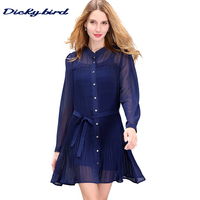 Dickybird 2017 Autumn New Women S Dresses Fashion Casual Elegant Chiffon Cardigan Buttons Long Sleeved Lady