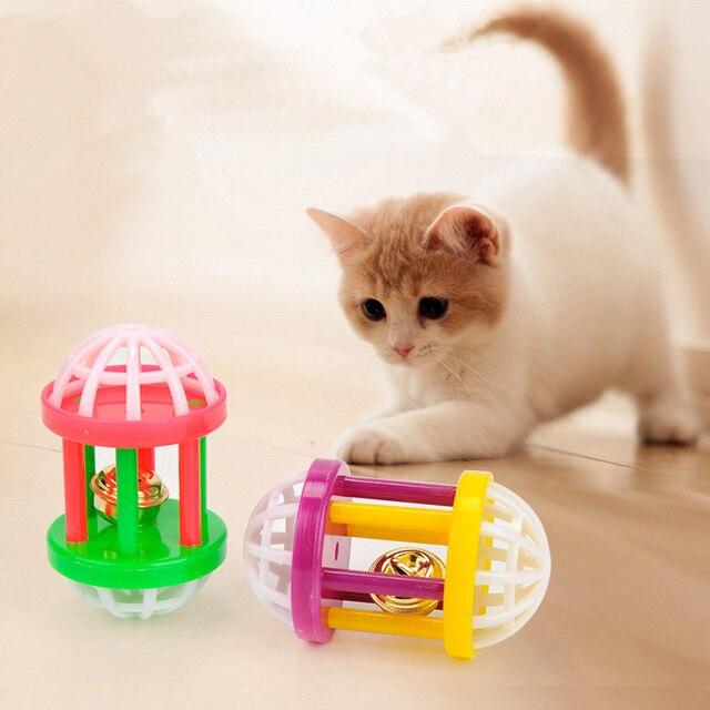 Di plastica del Gattino del Gatto Giocattolo con Manubri Jingle Carino Cane di A