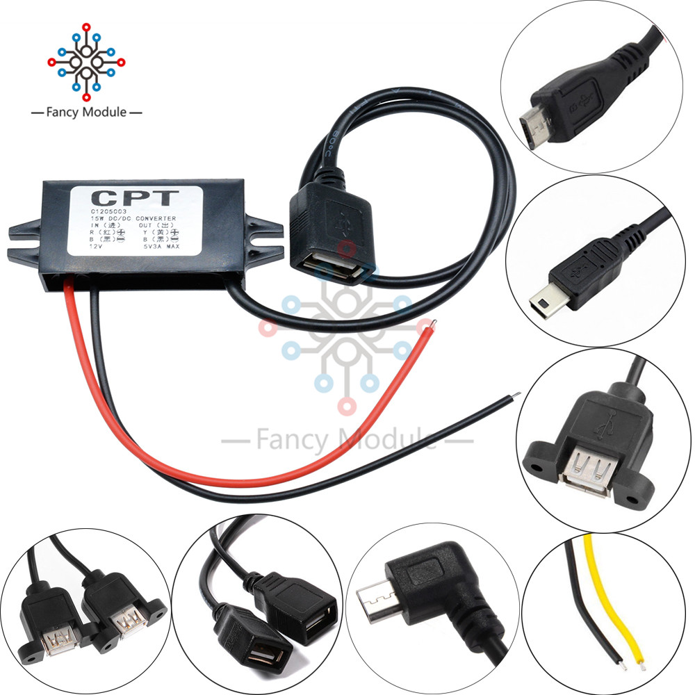 DC-DC Car <font><b>Power</b></font> 12V to <font><b>5V</b></font> <font><b>3A</b></font> 15W Converter Module Micro USB Step Down <font><b>Power</b></font> Output <font><b>Adapter</b></font> 96% High Conversion Efficiency image