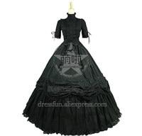 Victorian Gothic Black Ball Gown Reenactment Steampunk Punk Lolita Dress Costume Elegant Ruffles decorated Classical Dress