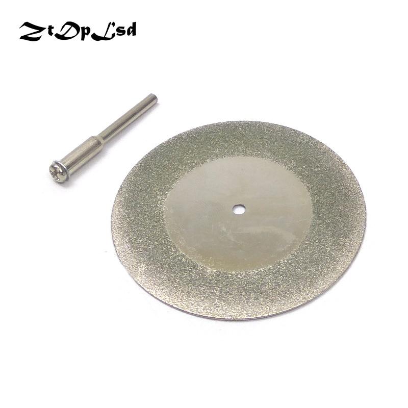 ZtDpLsd 1x 60mm Circular Diamond Wheel Saw Blade +1Pcs 3mm Shank Rod Rotary Accessory Cutting Disc Electric Abrasive Dremel Tool