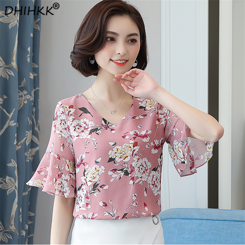 DHIHKK Summer Chiffon Print Blouse 2018 Newest Women Flare Sleeve Elegant Fashion Blouse Ladies Shirts Casual Blusa Feminino