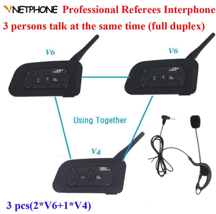Vnetphone 1200 m casque de Communication Duplex intégral 3 coureurs parlant pour le Football arbitre juge Biker sans fil BT interphone