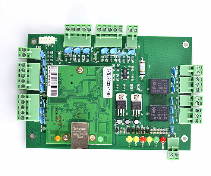 New Two Door Access Control Board Green Board for TCP/IP Door Access Control system T02 biometric fingerprint access controller tcp ip fingerprint door access control reader