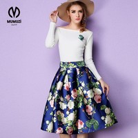 2017 50s Vintage Woman Retro Red Rose Flower Bouquet Floral Print High Waist Midi Skirts Knee