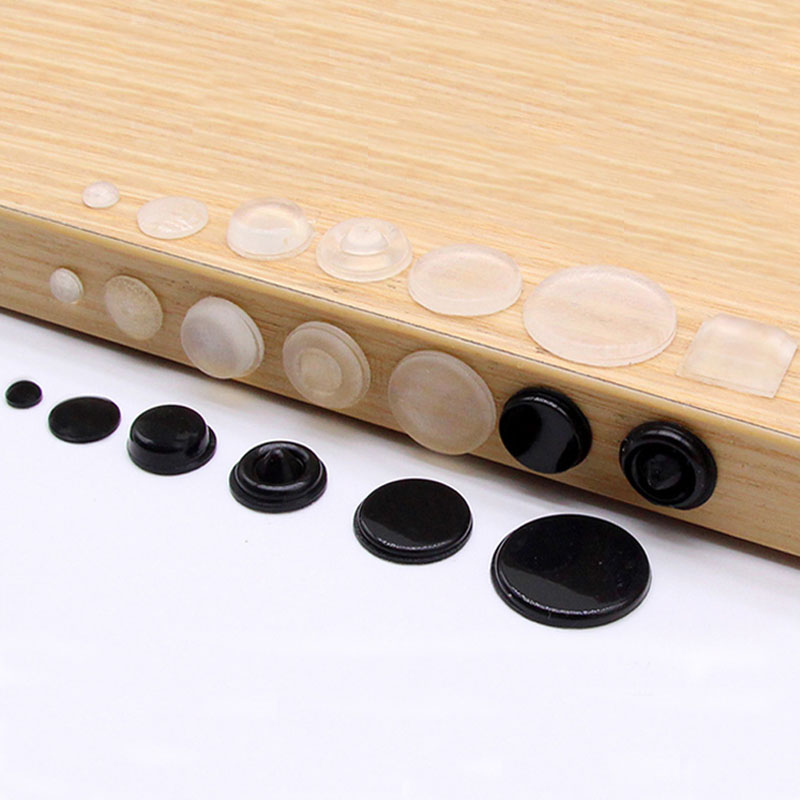 100 Pcs Self Adhesive Door Buffer Pad Rubber Silicone Feet Cabinet Drawers Clear Semicircle Bumpers Furniture Door Accessories