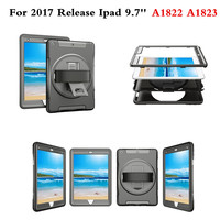 Shockproof Armor Hybrid HandStrap Kids Safe Case Cover Bulit In Protective Film For Apple New IPad