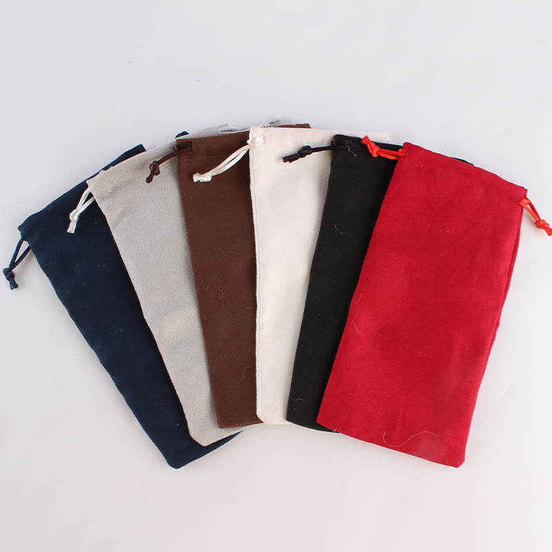 100pcs/lot 9*18cm Double Side Suede Bag Custom Logo Print Pouch Drawstring Bags For Jewelry Earring Ring Wholesale Price