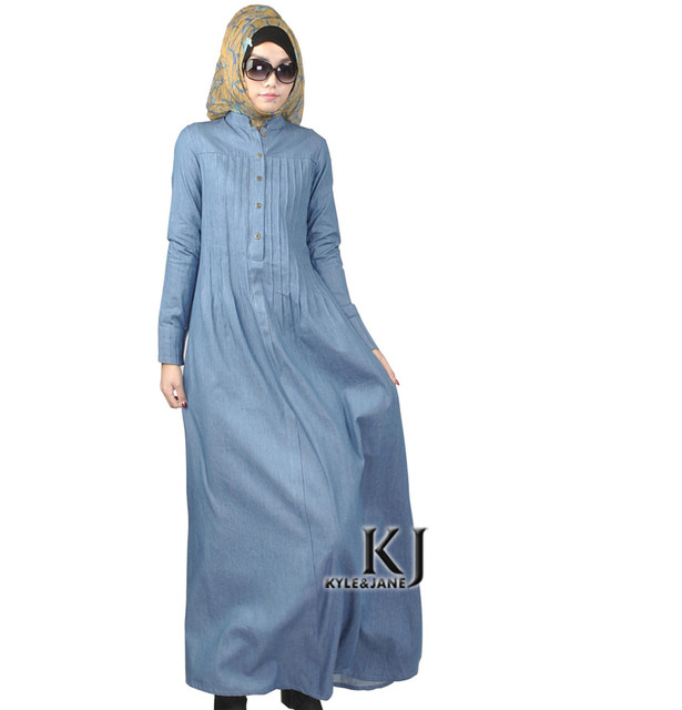 Online Shop 2016 Islam casual abaya muslim girl fashion jeans dress ...