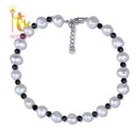 Baroque Pearl Anklets Natural Freshwater Pearl Jewelry Fashion 8 9mm Trendy Gift For Party F210