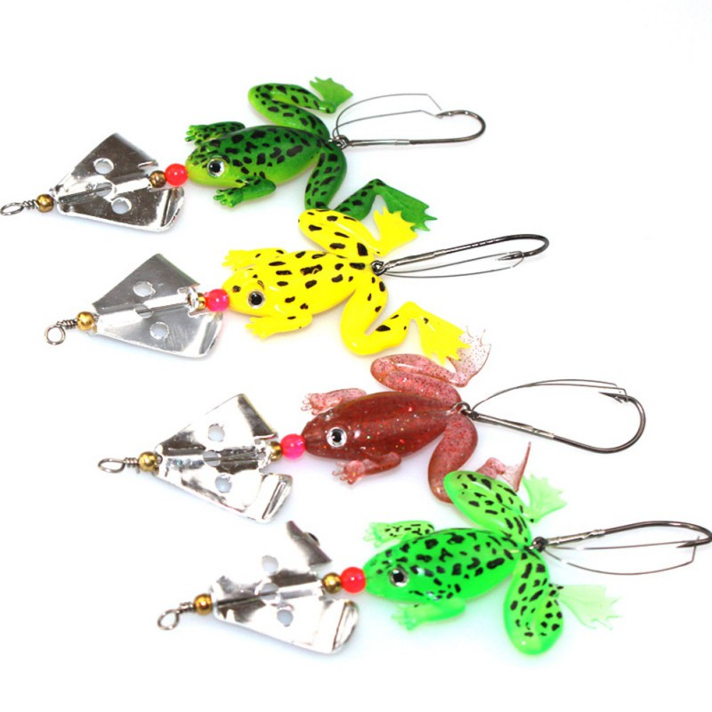 1pcs Soft Rubber Frog Fishing Lure Bass CrankBait 3D Eye Simulation Frog Spinner Spoon Bait  8cm 6g Fishing Tackle Accessories trulinoya ray frog style soft plastic fishing lure bait green