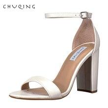 5b12acb68 CHUQING 2019 Mulheres Verão Sandálias de Salto Alto Sapatos de Casamento  Festa de Senhoras Sandálias