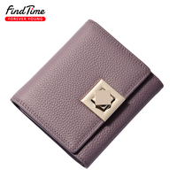 FINDTIME Classic Women Wallet Genius Leather Square Buckle Brand Designer Lady Clutch Passcard Money Pocket Capacity Coin Purses