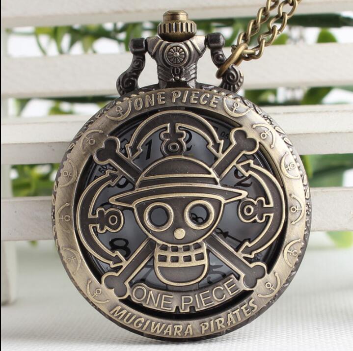 Bronze Copper Vintage One Piece Theme Skull Pattern Hollow Quartz Pocket Watch For Men Women Kids Gift Necklace Watches