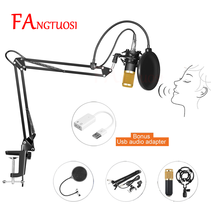FANGTUOSI BM800 Professional Condenser Wired Microphone 3.5mm Audio Studio Vocal Recording KTV Karaoke Microphone Mic W/Stand