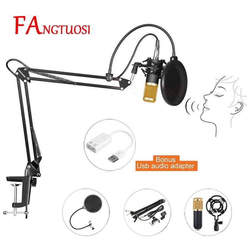 FANGTUOSI BM800 professionnel condensateur filaire Microphone 3.5mm Audio Studio enregistrement Vocal KTV karaoké Microphone micro W/Stand
