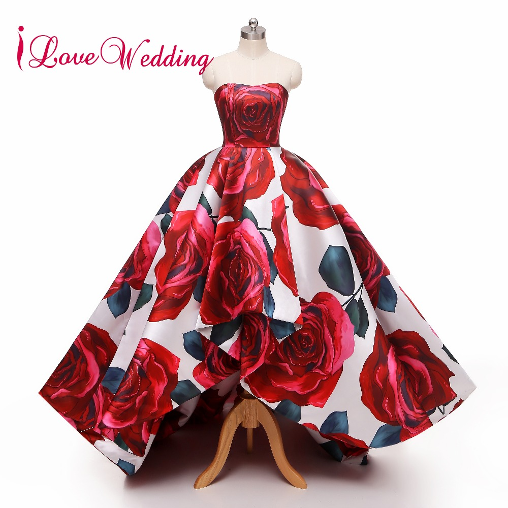 iLoveWedding 2018   Evening     Dress   Strapless Hi-low Robe De Soiree Floral Printed Formal Long Vestido De Festa Long Real Photo