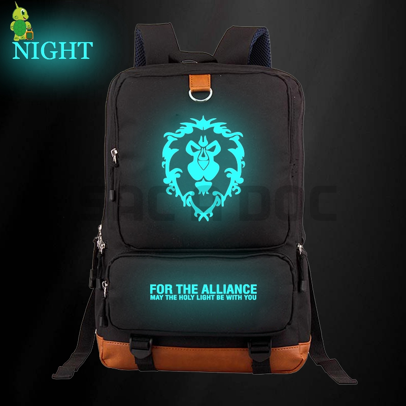 World of Warcraft The Alliance / Horde Luminous Backpack Women Men Canvas Laptop Backpack School Bags for Teenagers Travel BagsWorld of Warcraft The Alliance / Horde Luminous Backpack Women Men Canvas Laptop Backpack School Bags for Teenagers Travel Bags