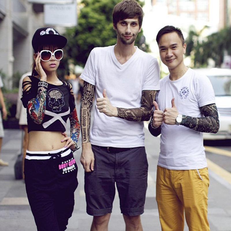 Quality Temporary Tattoo Sleeves Men Seamless Fake Tattoo Arm Warmer Stockings Elastic Tattoo Sleeves  Skins Sun Protective