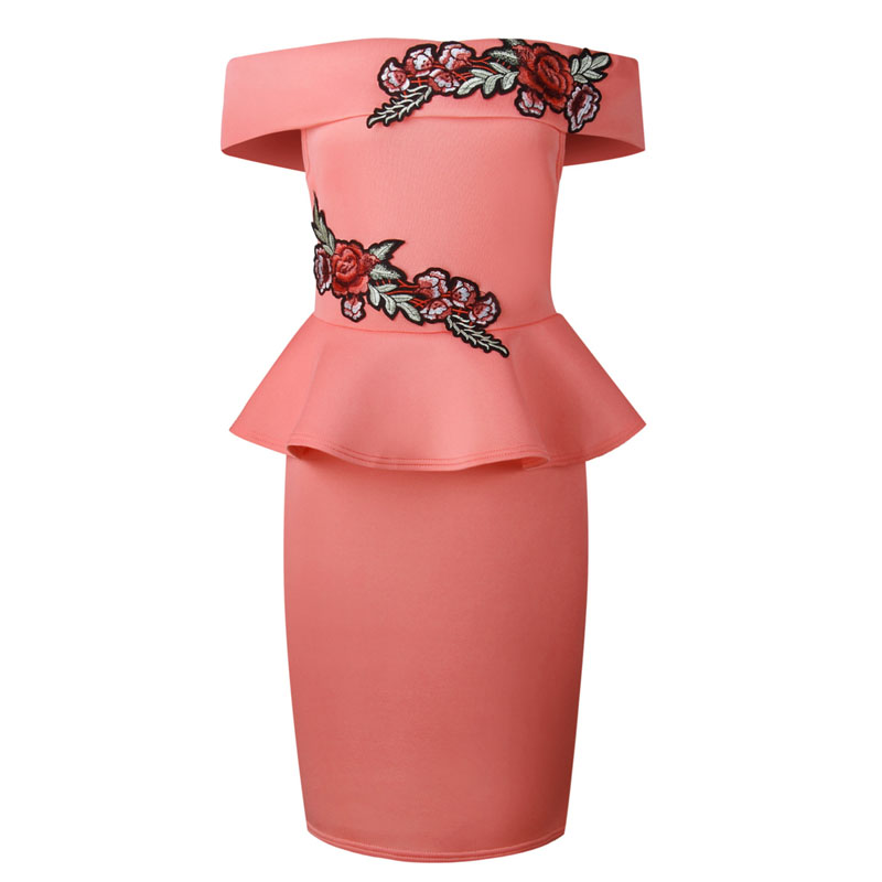 52bd66441d99 Aliexpress.com   Buy Turquoise Pink Off Shoulder Slash Neck Floral  Embroidery Package Hips Bodycon Midi Dress Elegant Ladies Ruffles Peplum  Dresses from ...