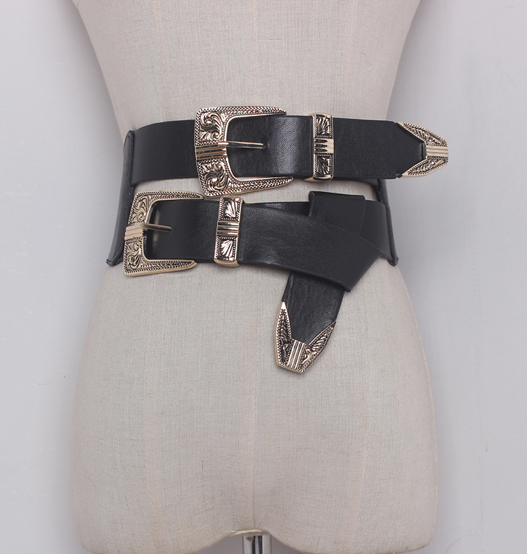 Women's Runway Fashion Elastic PU Leather Buckle Cummerbunds Female Dress Corsets Waistband Belts Decoration Wide Belt R1325