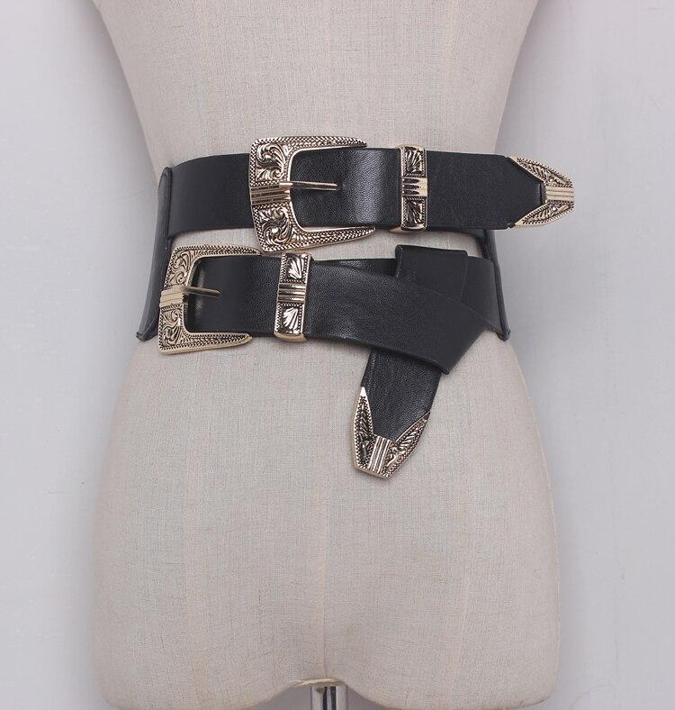 Women's Runway Fashion Elastic PU Leather Buckle Cummerbunds Female Dress Corsets Waistband Belts Decoration Wide Belt R1325