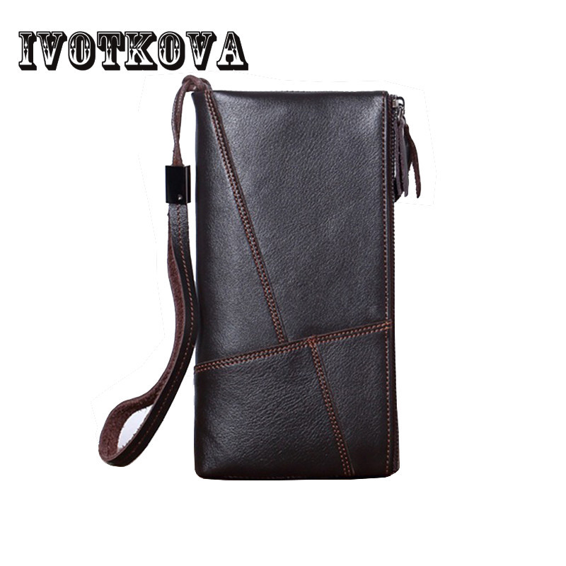 IVOTKOVA Design Genuine Leather Wallets Men Luxury Brand Purses Man Wallet Long Male Purse Card Holder Clutch carteira masculina sale carteira feminina genuine leather bag brand wallet men kangaroo design genuine leather wallets mens carteira masculina