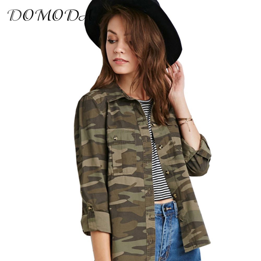 DOMODA Apparel Camo Slim Women Coats Camouflage Single Breasted Double Pockets Jackets Autumn Casual Loose Brief Outwear