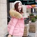 O Inverno 2016 Gola De Pele Curto Tamanho Grosso de Algodão Acolchoado Pão Roupas Frio jaqueta Magros das Mulheres Jaqueta de Inverno Das Mulheres Para Baixo casaco