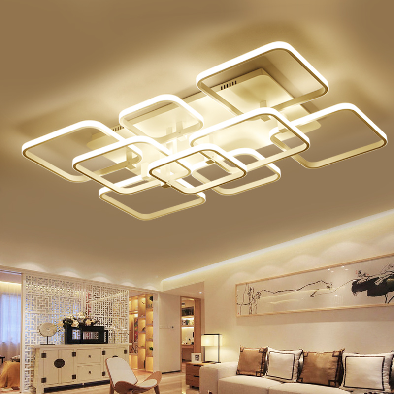 NEO Gleam Square Rings LED Ceiling Chandelier Lights For Living Room Bedroom AC85-265V Modern Led Ceiling Chandelier Fixtures black or white rectangle living room bedroom modern led ceiling lights white color square rings study room ceiling lamp fixtures
