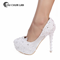 Women Pumps Shoes Beautiful white lace pearl bride shoes high heel waterproof table wedding shoes satin fine with dress shoes