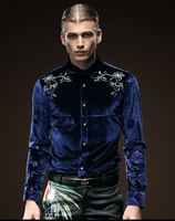 Free Shipping Fanzhuan New Male Fashion Men S Man Embroidered Long Sleeved Solid Color Blue Collar
