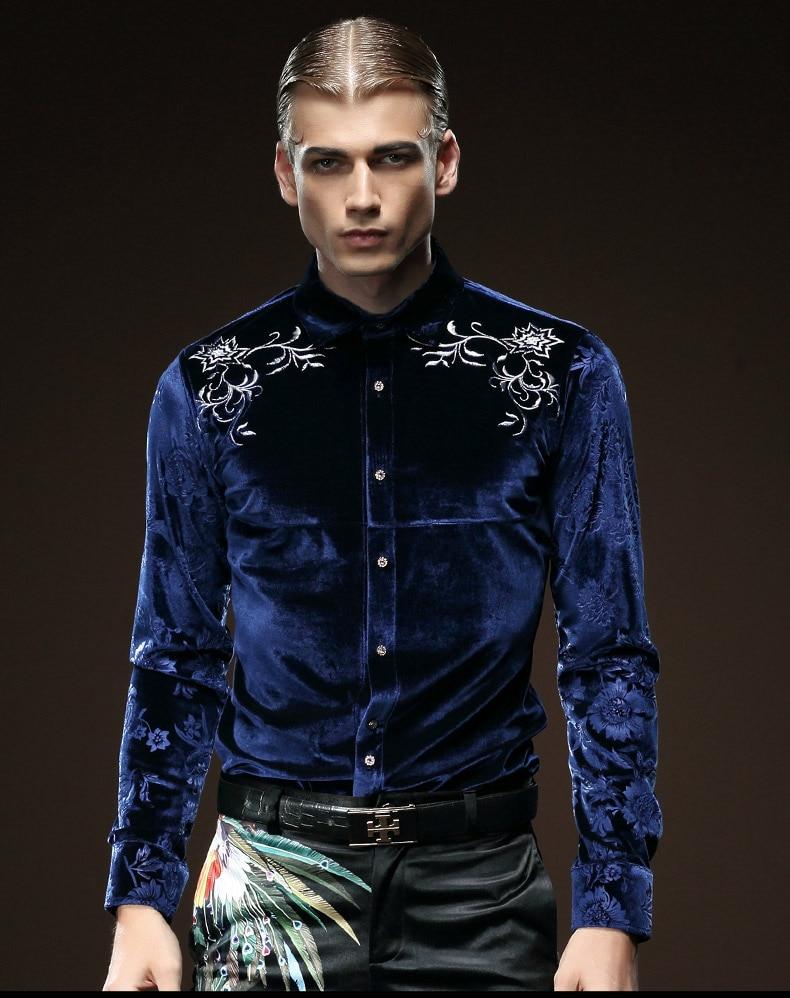 Envío Gratis Fanzhuan nueva moda masculina hombre de manga larga bordada color sólido azul cuello Slim blusa camisa 512058-in Camisas casuales from Ropa de hombre    1