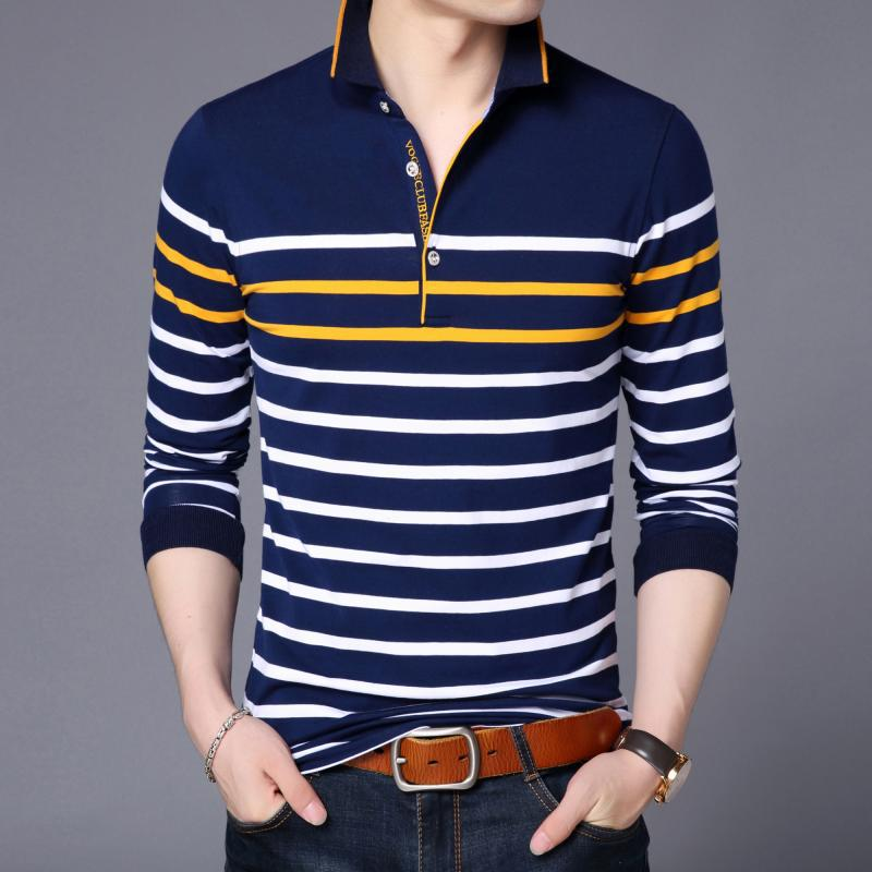 ICPANS   Polo   Shirt Men Long Sleeve Striped Tops Tee Slim Fit 2018 Autumn Soft Cotton   Polo   Shirts for Men Big Size 4XL