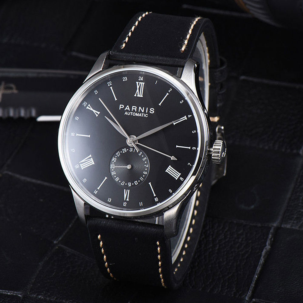 42mm Parnis Black dial Roman Numerals Stainless Steel Case Complete Calendar leather ST 1690 Automatic movement Men's Watch цены