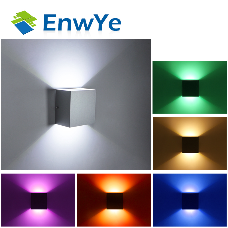 EnwYe 12W LED Aluminium wall light rail project Square LED wall lamp bedside room bedroom wall lamps arts