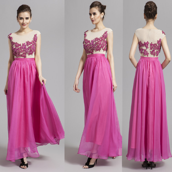 2017 New Elegant Hot Pink Beading Formal Wedding Prom Full Length Dress New Cap sleeves maxi bridesmaid Chiffon